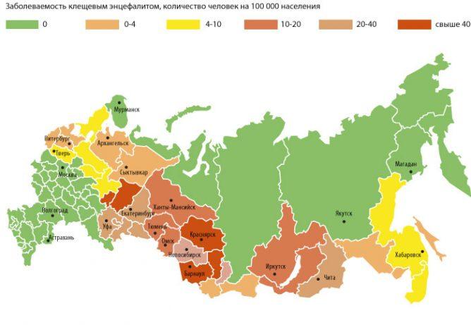Карта регионов, эндемичных по клещевому вирусному энцефалиту